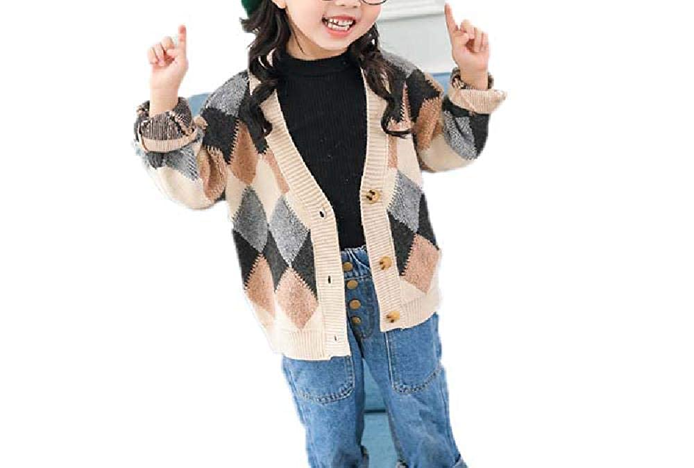 BCVHGD Kids Knitted Cardigans Toddler Girl Sweaters Childrens V Collar Grid Pattern Tops Casual Winter Clothes