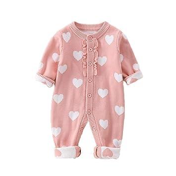 HAIMING-sleeping bag Saco De Dormir Pierna Dividida Mono De Bebe Pijamas De Bebe-Mono De Suéter para Bebés De 6 A 12 Meses Mujer Bebé Doble Amor Grueso: ...