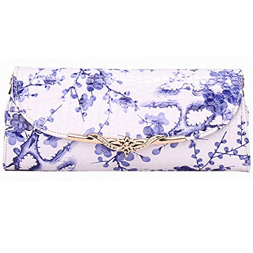 PU Dooppa Bag Flower Blue Flower Ladies Clutch Bag Purse Leather Shoulder Handbag Pattern Crossbody 5wr4Pwq