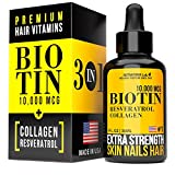 3-in-1 (Anti-Aging Formula) Biotin 10000 mcg, Collagen & Resveratrol - Stronger & Healthier Hair, Skin, Nails & Anti-Aging Effect | Organic Revolutionary Supplement | Made in USA | Visible Effect