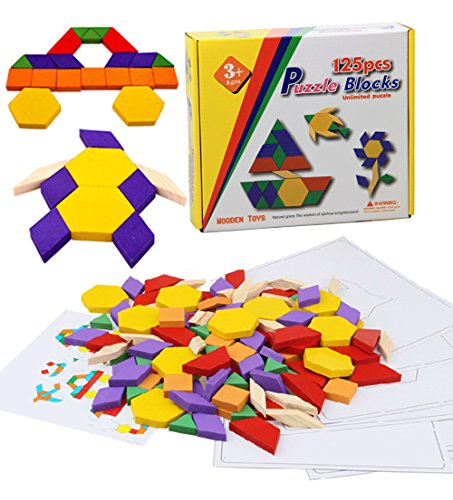 Geometry Intelligence Tangram Puzzle Jigsaw Puzzle | 125 Pieces Tangram Wooden Building Blocks Set - Basic Educational Build & Play Toy for Toddlers Preschool Age