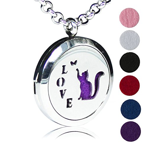 Aromatherapy Essential Oil Diffuser Chain Necklace Love Cat Pattern Stainless Steel Locket Pendant (Stone Illuminati)