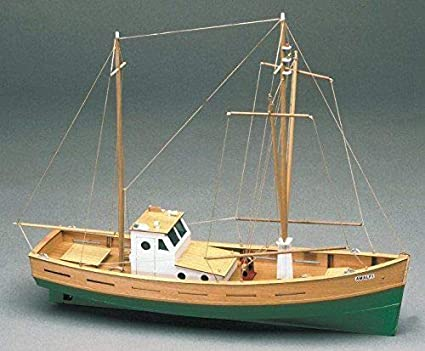 AMALFI MEDITERRANEAN FISHING BOAT WOODEN MODEL SHIP KIT 1:35 SUIT BEGINNER  BUILDER