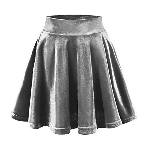 Urban GoCo Femmes Rtro Jupe Velours Plisse Patineuse Fille Elastique Court Mini Jupe Gris