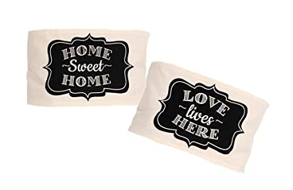 dennis east set of 2 home sayings rustic sackcloth linen pillow wrapslove lives here