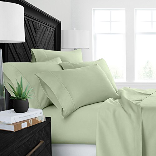 Cal King Olive - Sleep Restoration Luxury Bed Sheets with All-Natural Pure Aloe Vera Treatment - Eco-Friendly, Hypoallergenic 4-Piece Sheet Set Infused with Soothing/Moisturizing Aloe Vera - Cal King - Olive