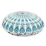 Mandala Floor Pillows Round Bohemian Cushion Cover Super Groovy Shape Pillow Poufs With Happy Pompom Borders.