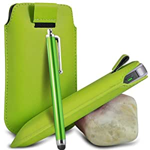 Green Premium PU Leather Pull tab Protective Grip Soft Slip Slide in Pouch Skin Case Cover With High Sensitivity Capacitive Aluminium Touch Stylus Pen For HTC DESIRE HD (XL) Mobile Cellular Phone