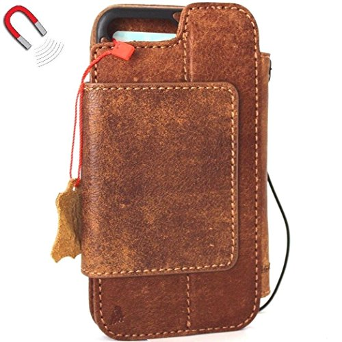 Genuine real Leather Case for apple Iphone 8 Plus Book Wallet thin magnetic cover Handmade Retro Luxury soft cards slots slim Daviscas
