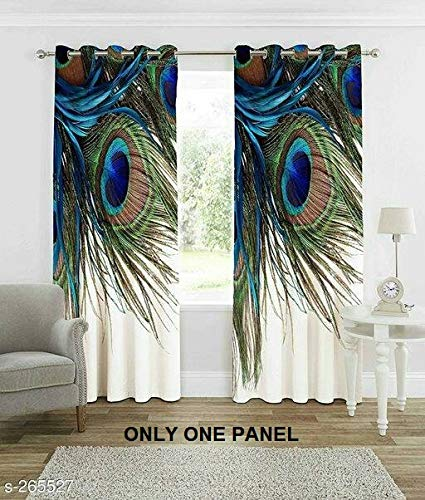 Curtains for Living Room Wooden Bridge Curtains Rustic Country Theme Home Decorations for Bedroom Kids Room Digital Printed Peacock Feathers Knitting Eyelet Long Door Curtains 1 Panels 4 Fit x 7 Fit (Feathers Peacock Sale For Large)