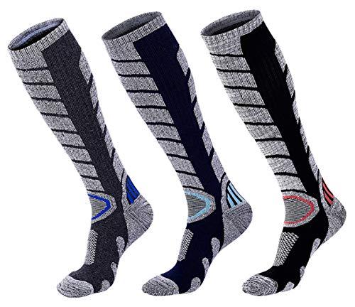 Mens' Ski Socks Knee High Soft Skin Warm Socks Hiking Snowboarding (3 Pairs) (Ski Socks Men Warm)