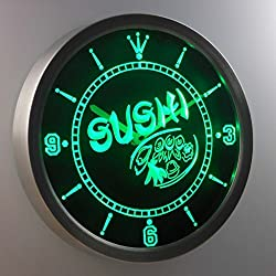 nc0444-g Sushi Japan Food Cafe Neon Sign LED Wall Clock