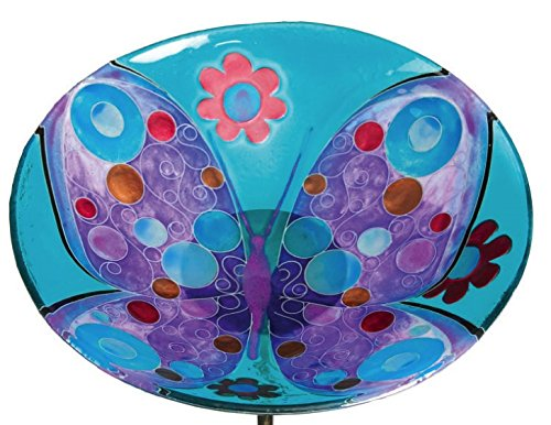 - Gifted Living Butterfly and Flowers Glow in The Dark Garden Stake Birdbath