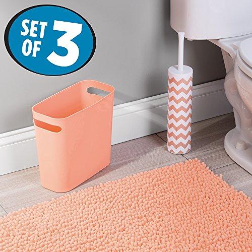 mDesign Microfiber Bathroom Wastebasket Chevron