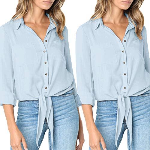 Manches Bandoulière Longues Boutonnée Beikoard Bleu Tops Manches Casual Bandage Bouton à Longues à Bas Chemise Shirt et à SW8IP8q