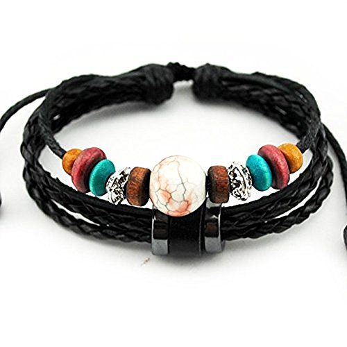 Victoria Echo Handmade Colorful Multi Stand Beads Braided Leather Wrap Bracelet Adjustable Red