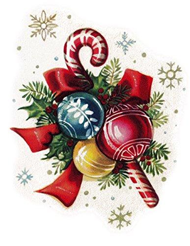 """Waterslide Decals (4pcs 2.5""""x3.5"""") FLONZ Vintage Christmas Balls Decor"""