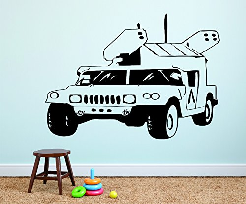 Wall Decal Sale : Army War Truck Hummer Silhouette Size: 16 Inches X 24 Inches - 22 Colors Available (Army Sales Truck)