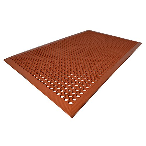 Kitchen Mat| Unimat| Anti-Fatigue & Anti Slip Rubber Mat| 3 x 5 Feet| Orange clay Color| For Industrial and commercials Purpose. by Unimat