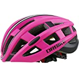 DRBIKE Road Bike Helmet, Red Bicycle Helmet with Lights for Women, Adjustable Cycling Helmet for Adult For Sale