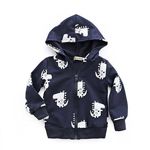 Dealone Baby Boy Zip Front Hoodie Sweathshirt Toddler Dinosaur Jacket ()