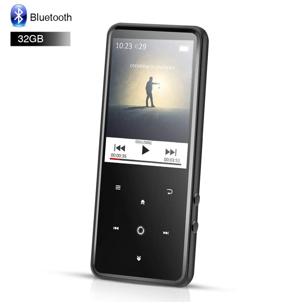 AGPTEK 32GB Bluetooth MP3 Player with 2.4 Inch TFT Color Screen, FM/Voice Recorder Lossless Sound Touch Button Music Player, Support Up to 128GB, Black(C2H)