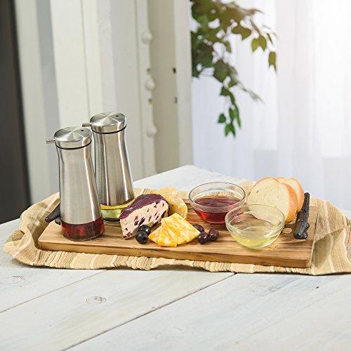 CHEFVANTAGE Olive Oil and Vinegar Cruet Dispenser Set with Elegant Glass Bottle and Drip Free Design - Red by CHEFVANTAGE (Image #4)