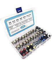 GTIWUNG 20Pcs Potenciómetro B5K B10K B20K B50K B100K Ohm, Lineal Cónico Rotativo Potenciómetro Kit, 3 Terminales Potenciometro de B-Tipo Estéreo Audio Potenciómetro con Perilla