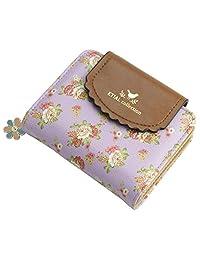 ETIAL Women's Vintage Floral Zip Mini Wallet Short Design Coin Purse