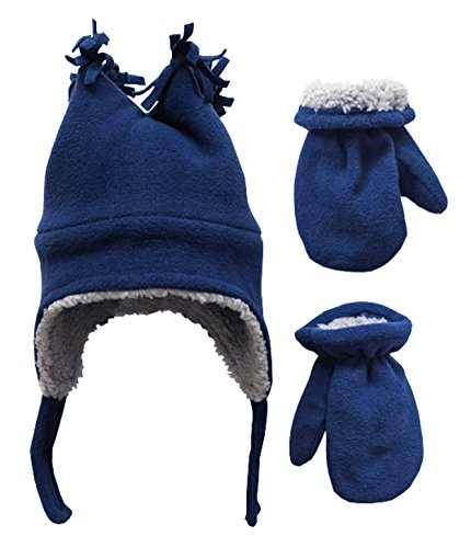N'Ice Caps Little Boys and Baby Sherpa Lined Fleece Winter Hat and Mitten Set (Navy, 4-7yrs)