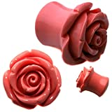 CloseoutWarehouse Resin Organic Pink Hybrid Tea Rose Earplugs Size 7/8 22MM