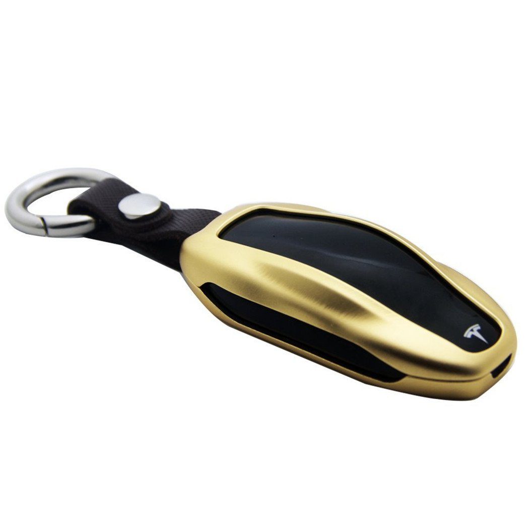 teslahomeプレミアムアルミメタル車キーFobカバーキーチェーンfor Tesla Model S B075XKG6F7  Luxury gold