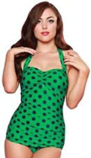 product image for Esther Williams Vintage 1950s Style Pin Up Green & Navy Polka Dot Swimsuit