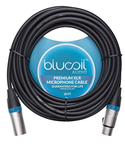 20' Whirlwind Xlr Cable - Blucoil Audio Balanced XLR Cable - Premium Series 3-Pin Microphone Cable, Speakers and Pro Devices Cable, Black, 20 Feet