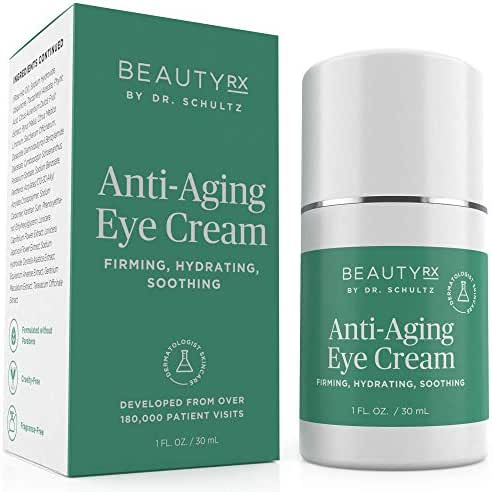 BeautyRx by Dr. Schultz Eye Cream for Dark Circles, Bags, Wrinkles & Puffiness. Best Firming Under & Around Eyes Anti-Aging & Moisturizing Treatment with Vitamin C, Hyaluronic Acid & Green Tea (1 oz)