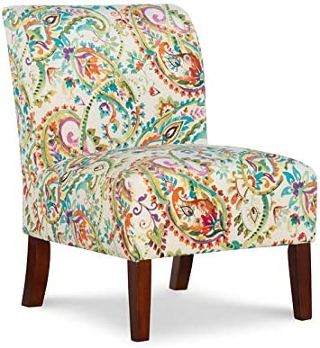 Linon Todd Curved Back Wood Upholstered Slipper Chair