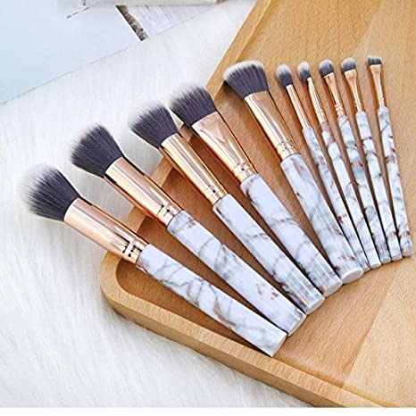 488edf3ba39 Fashlady™ Silver, China: 10Pcs/Set Makeup Brushes Kabuki Foundation Brushes  Marbling Handle
