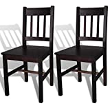 LicongUS Dining Chairs 2 pcs Brown Wood Chairs With a simple yet elegant design Chair size: 16.3'' x 17.9'' x 33.9'' (W x D x H)