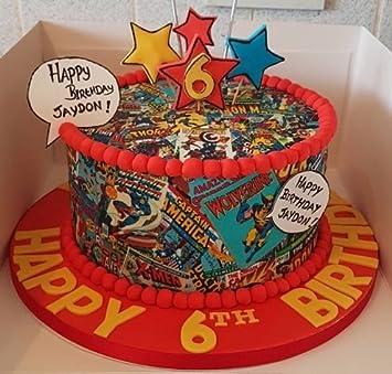 Superhelden Comic 19 Cm Runde Fondant Kuchen Topper Aus Amazon De