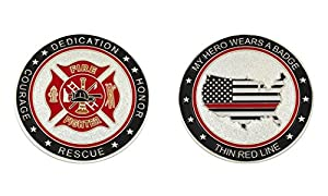 My Hero Wears A Badge Fire Fighter Challenge Coin by Top Road Pins