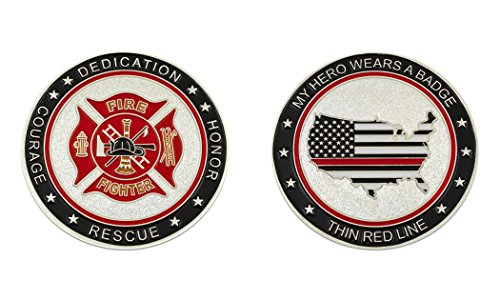 My Hero Wears A Badge Fire Fighter Challenge Coin (Firefighter Badges)