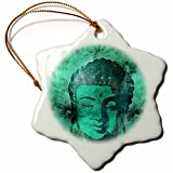 3dRose Andrea Haase Art Illustration - Green Buddha Head Illustration - 3 inch Snowflake Porcelain Ornament (orn_268360_1)
