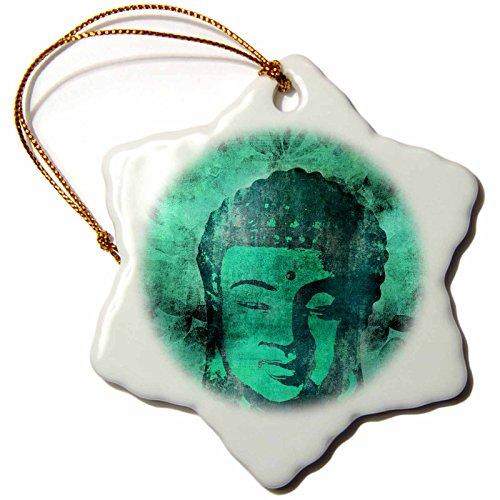 3dRose Andrea Haase Art Illustration - Green Buddha Head Illustration - 3 inch Snowflake Porcelain Ornament (orn_268360_1) by 3dRose