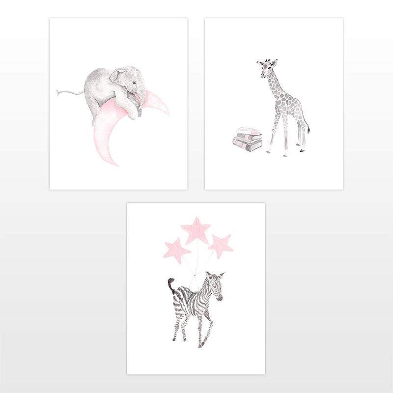 Animals Chevron Hippo Name Animals Set of 4 8x10 Giraffe Elephant INSTANT DOWNLOAD Pink and Gray Baby Girl Nursery Jungle Animals