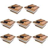 8 Pack Copper Outdoor Garden 4 x 4 Solar 5-LED Post Deck Cap Square Fence Light Landscape Lamp PVC Vinyl Wood Bronze
