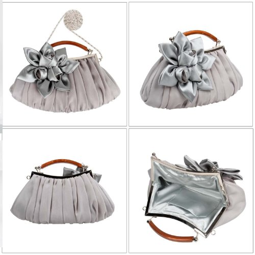 Sheer Clutch Floral Chiffon Silver Party Exterior Collection Out BMC Embellish Evening wTxnYT