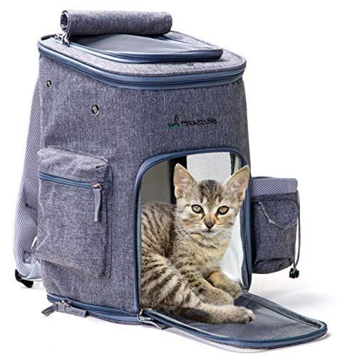 TYFOCUS Soft-Sided Pet Carrier Backpack for Small Dogs and Cats by Pawfect Pets- Airline-Approved, Designed for Travel, Hiking, Walking & Outdoor Use Grey