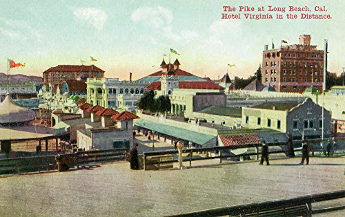 Long Beach, California - View of the Pike and Hotel Virginia in Distance (9x12 Art Print, Wall Decor Travel ()