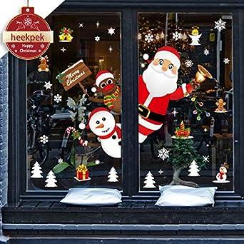 Grande Navidad Muñeco de Nieve Copo De Nieve Santa la etiqueta de la Pared Arte Pegatina de ventana de PVC