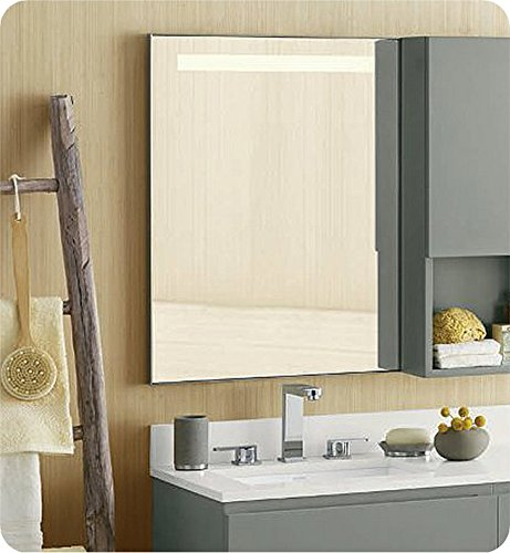 Ronbow 602523-BN Brushed Nickel Universal Contemporary Style 22″ X 30″ Metal Mirror W/Led On Top
